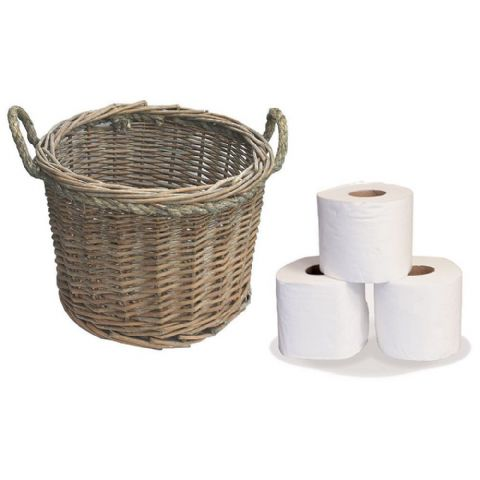 Light Willow Wicker Bathroom Toilet Roll Storage Basket